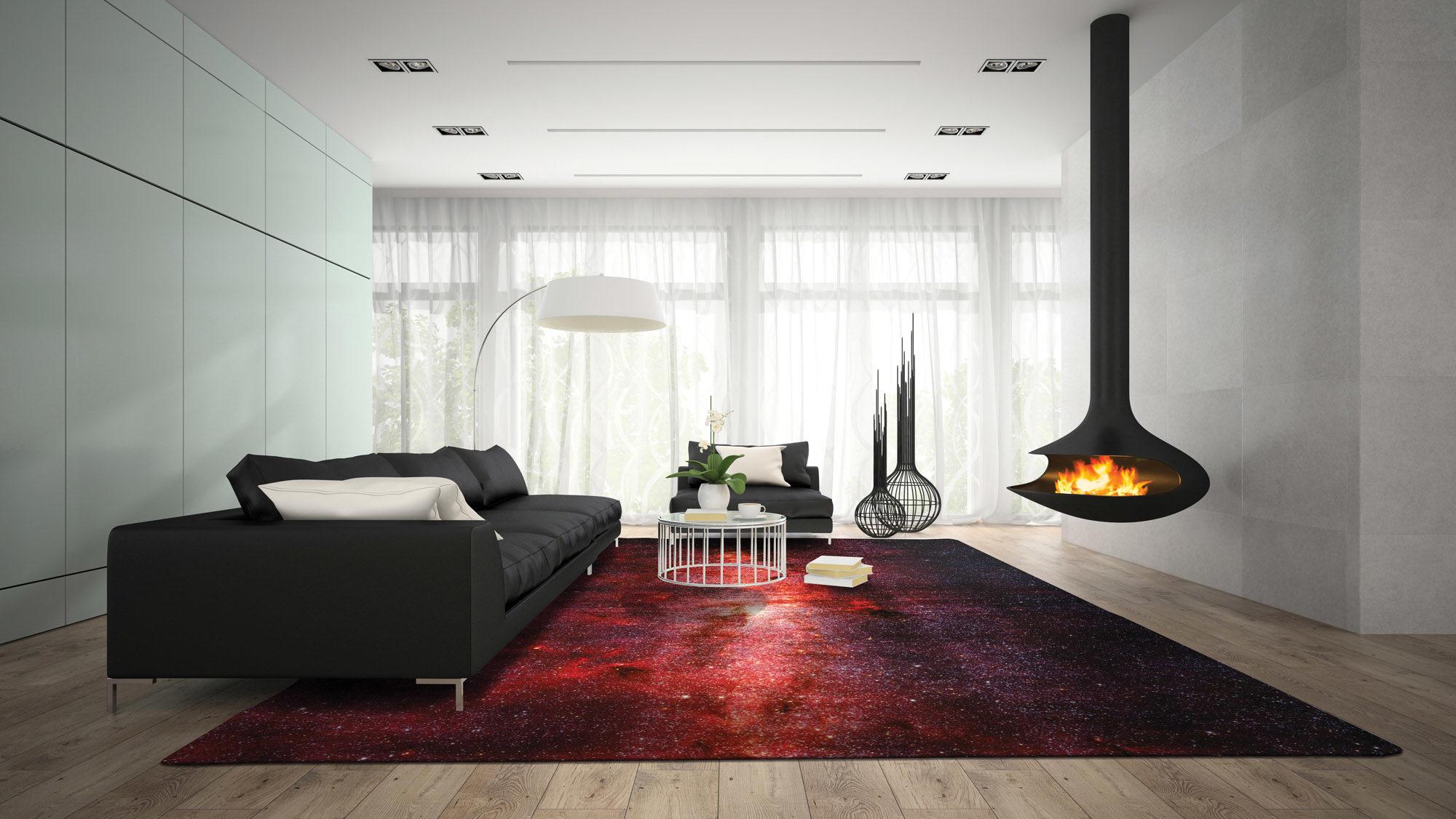 Interno di una stanza moderna con render 3d fireplace tappeto Artep