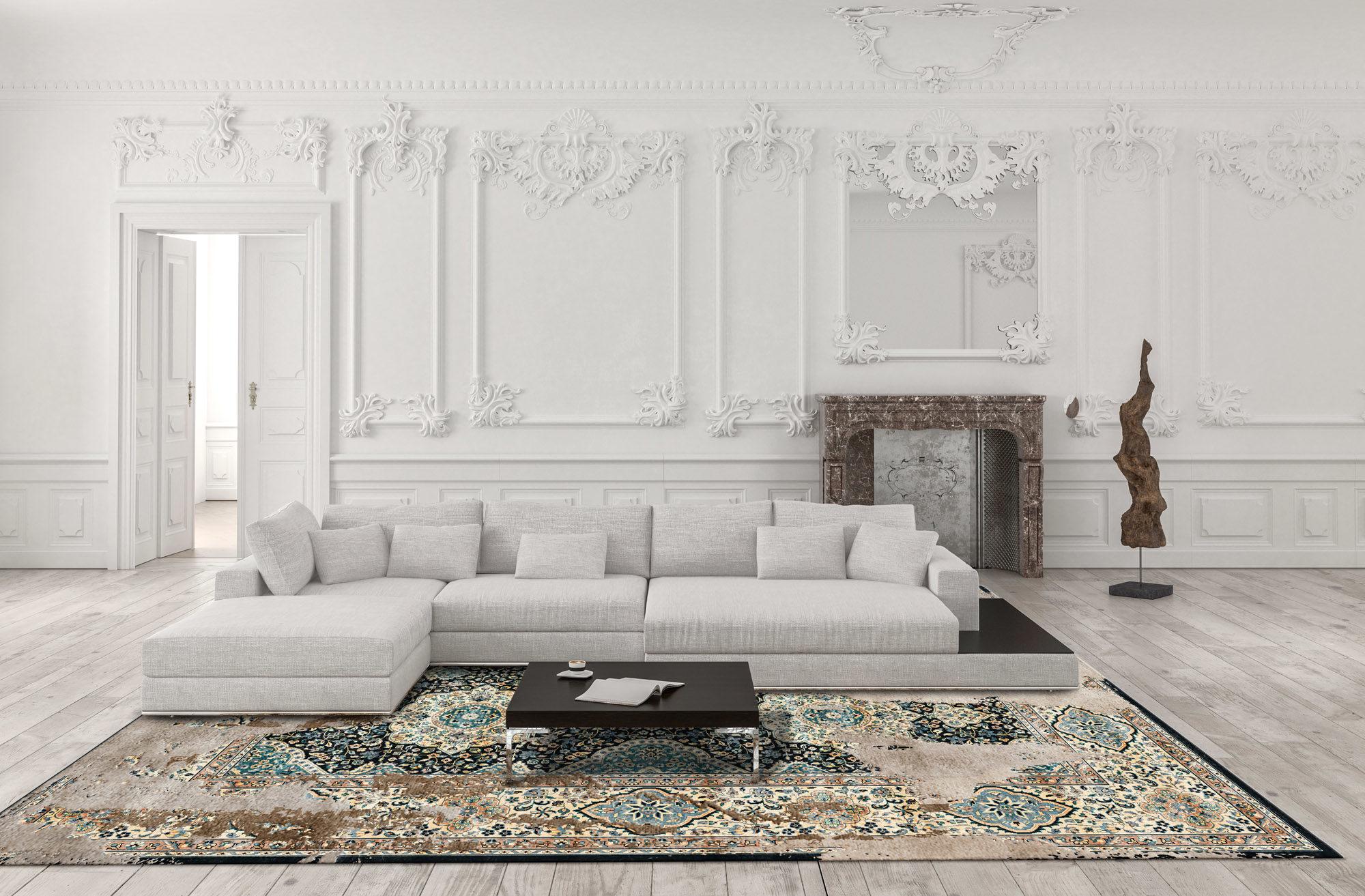 Interno di una stanza con tappeto persiano Artep